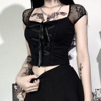 InsGoth Vintage Goth tişört Kadınlar BODYCON Bandaj Dantel Siyah tişört Gotik Streetwear Seksi Kadın Üst Casual Mesh Tee Tops