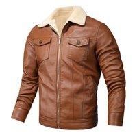 Мода бренд мужской ретро PU куртки мужчин Slim Fit мотоцикла кожаные куртки и пиджаки Мужской Теплый Bomber Военный Открытый Coat 201106