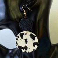 Подлинная кожаная кожаная кожа серьги из коровьего круга водяной капюшон винтажный бык череп серьги черепа лоскутная звезда двойной слой коровы печати ушная подвеска