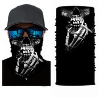 Sports Cyclisme Masque de moto Crâne moitié visage Bandanas Ciclismo chaud cou Bandeau Scarfs hommes de pêche Masque de ski 3D cou Tube anti-UV Y2020