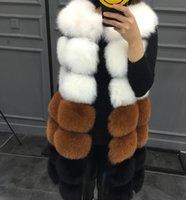 Горячий новый из искусственного меха жилет пальто зима без рукавов куртка женская поддельная лиська меховой меховой лоскутный цвет толщиной густой ванна женский искусственный меховой жилет