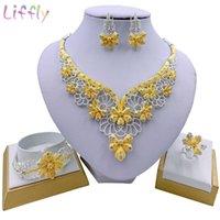 Liffly nigerianos jóia elegante Mulheres Flor Colar Pulseira partido Anel de cristal Conjuntos de jóias de noiva