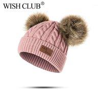 Wunsch Club Baby Hut Pompon Winter Hut Gestrickt Niedliche Mütze Für Mädchen Jungen Beiläufige Feste Farbe Kinder Baby Mützen 1-3 Jahre alt1