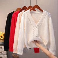AOSSVIAO Cozy Knit Cardigan Women V-neck Front 2020 Button Down Dropped Long Sleeve Korean Casual Chic Winter Tops