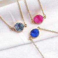 Druzy New Resin Stone Geometry Design Pendant For Colors Plated Necklaces Fashion 5 Necklace Gold Elegant Women Girls Stone Jewelry Mfhut