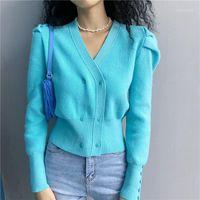 Damenstricke T-Shirts Korea 2021 Mode Fall Winter Damenpullover V-Nevk Langarm-Strickjacken doppelt breasted Solid Color Casual SH