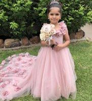 2021 Blush Pink Flower Girls' Dresses For Weddings 3D Handmade Flowers Sweep Train Child Birthday Party Gowns Lovey Little Girls Dress