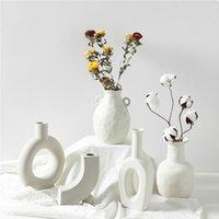 Nórdic ins vaso cerâmico casa ornamentos branco vegetariano criativo cerâmico vasos vasos decorações domésticas artesanato presentes T200624