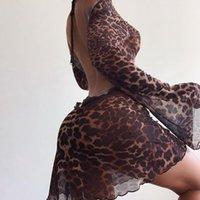 Party Night Sexy Léopard Sans Backwear Headwear Femmes Élégantes manches évasées Lace up Mini Street Robes1