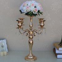 Creative Tall Soporte de flores Jarrón Strands Decoración de la boda Oro 5 brazos Candelabros Metal Soporte de vela con la flor Bowl SN1839