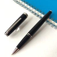 Spezielle flache obere Kappe mit schwarzem Edelharzfass Silber Trim Rollerball Stift Schreibvorräte für Geschäftsgeschenk