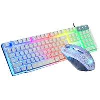 الإضاءة الخلفية لوحة المفاتيح والماوس مجموعات USB السلكية أضواء تحطم البصرية الألعاب أو لوحة المفاتيح المكتبية و مجموعة الماوس تعليق LH-