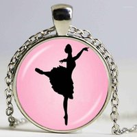 Anhänger Halsketten Tanzen Ballerina Tänzerin Halskette Ballett Tanz Mädchen Po Cabochon Dome Modeschmuck Für Frau Pullover Kette Halskette1
