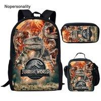 NOPERSONALITALITALITALY COOL T-REX Dinosaur أكياس مدرسية مجموعة الكتب للبنين المراهقين 3 قطع حقيبة الظهر الأساسية مع مربع الغداء أكياس قلم رصاص LJ201029