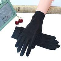 100% реальные шелковые перчатки для женских весенних летних перчаток мягкие шелковистые женские солнечные перчатки дамы варежки анти-уклон сплошной цвет LJ200925