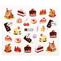 네일 워터 스티커 DIY 블랙 생일 케이크 이미지 네일 아트 종이 장식 매니큐어 문신 크리 에이 티브 디자인 워터 마크 데칼
