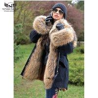 Tatyana Furclub Fourrure véritable manteau d'hiver pour les femmes Parka Veste Manteau fourrure de raton laveur capuche Harajuku Noir Parka Slim Tops chaud