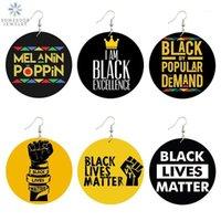 Somesoor черный жизненный вариант, говорящий модные женщины печати ювелирные изделия натуральные дерева падение серьги по дереву Melanin Poppin Afro Power Pattern1