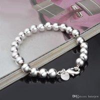 Creux perles Bracelets Hommes plaqué cuivre brillant bijoux chic de boule breloque Bangles imitation argent 925 Bracelet