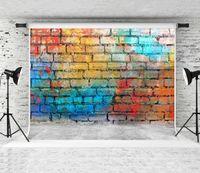 Красочные граффити на стене фона 7x5ft кирпич текстуры серый пол фото фон хип-хоп улица художественное фото фона для портретной стрельбы