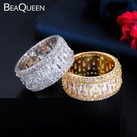 BeaQueen magnifique Big Circle Finger Rings pleine Zircon Baguette ronde engagement de soirée de mariage Bijoux Accessoires R109