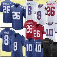 Новый 26 Saquon Barkley Jersey 8 Даниэль Джонс Джерси 10 Эли Мэннинг Футбол Требовые изделия Синий Белый Красный S-XXXL Высокое качество