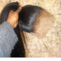 كامل الرباط الجبهة شعر الإنسان الباروكات ريمي البرازيلي مستقيم الشعر البشري الباروكات 360 الدانتيل أمامي الباروكة قبل التقطت مع شعر الطفل