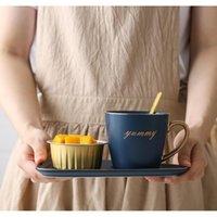 Nordische keramische Kaffeetasse und Untertasse Set Kreativer europäischer luxuriöser Frühstücks-Snack-Nachmittagstee-TABELW BBYQGK BDesports