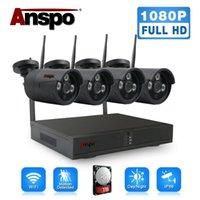 ANSPO Black WLAN-Sicherheits-Kamerasystem 4CH HD 1080P CCTV Wifi Kit NVR im Freien mit HDD