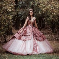 Cristaux de luxe rose rose quinceanera robes à manches longues appliques motif paillettes paillettes paillettes paillettes arabe arabe Dubai