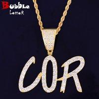 Custom nome pingente jóias ouro cor afiada bolha letra material cobre cúbico zircão hip hop rock rua com corrente de corda