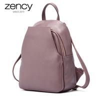 Zence New Llegada Mujeres Mochila 100% Cuero genuino Señoras Bolsas de viaje de estilo preppy Style Schoolbags para niñas Knapsack Vacaciones