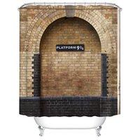 Plataforma 9 y 3/4 en la estación cruzada del rey de Londres Muro marrón de la pared Vintage Cortina de ducha impermeable Cortinas de decoración T200711
