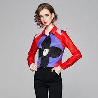 2021 Bahar kadın Tasarımcı Gömlek Artı Boyutu Sonbahar Kış Uzun Kollu Yaka Baskılı Pist Gömlek Zarif Ofis Bayanlar Düğme Bluzlar Tops