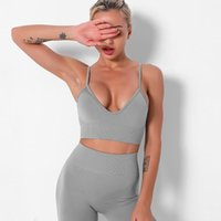 New seamless knitted sexy beautiful back French triangle inner bra tight-fitting sports fitness vest