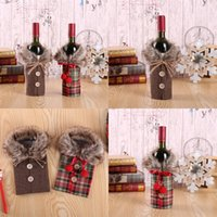 Christmas Linen Button Bags Bow Fur Collar Hairballs Bottle Cover Red Wine Plaid Ornament Decorations Sleeve 2020 4 8mg F2