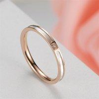 2 ملليمتر روز لون الذهب شل الزركون الدائري للنساء أزياء الفولاذ المقاوم للصدأ الزفاف الفرقة خواتم مجوهرات اكسسوارات لنا حجم 5-9 329 J2