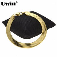 Link, Kette Uwin 10 * 1,5mm Mode Snake Heringbone Armband Männer Frauen Goldsilver Farbe Kupfer Metal Classic Schmuck Drop1
