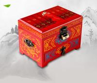 Handle 3 camadas de madeira de jóias gaveta Atacado embalagem com caixa de bloqueio decoração Caixas de armazenamento chinês Lacquerware Wedding Jóias