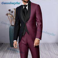 Costumes pour hommes Blazers Gwenhwyfar 2021 Est Fashion Bourgogne Noir Costume Black Homme Mens Mariage pour hommes Ternos Masculinos Slim Fit Tuxedos1
