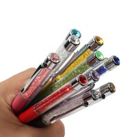 5pcs / lot Genkky Ballpoint stylo cadeau stylo de cristal de luxe grand diamant sur le dessus pour les étudiants cristallin dame stylo papeterie 201111