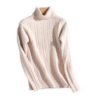Merino шерсть кашемировый свитер мода свитер утолщение зимней одежды водолазка свитер теплый женский шип пшеницы росписью 201023