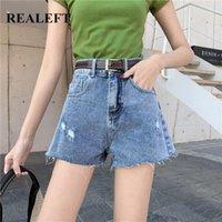 Jeans Mujeres Reale 2021 Primavera Verano Casual Denim Pantalones cortos con cinturón Alto Estilo coreano Pierna ancha Chic Female1