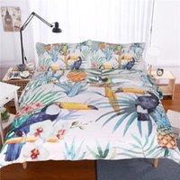 Vincife Piante tropicali Stampa Lettino Set di biancheria da letto Toucan Set di copertura piumino ananas1