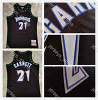 Retro Minnesota.TimberwolvesTrikots Black Kevin Garnett 21 Mitchellness 2003/04 Genähte HarthölzerneKlassiker Swingman-Trikots.