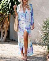 Sexy Summer Imprimer Plage Couverture Femmes Robe Tunique Pareos Mesdames Kaftan Robe Robe Couvre-up Femme Beach Porter Maillot de bain Vestido1