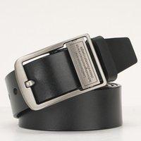 Cintura da uomo Cinture reali in pelle vera pelle con lettere rotata Pin fibbiatrice Plus Size 130 140 150 160 cm cinturino cinturino in vita nero