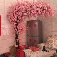 100 см поддельные вишни дерево 4 вилка Сакура филиал искусственный цветок шелк свадьба фон украшения стены цветы