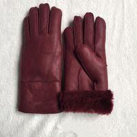 Высококачественные дамы мода повседневные кожаные перчатки термальные перчатки женские шерстяные перчатки в различных цветах - Бесплатная доставка