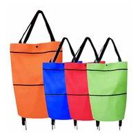 휠 쇼핑 가방 쇼핑 가방 600D 옥스포드 헝겊 재사용 할 수있는 접이식 풀 카트 트롤리 식료품 1pcs 4color